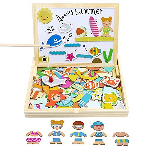 yoptote Lavagna Magnetica Giochi Montessori in Legno per Bambini 2 3 4 5 Anni Puzzle Magnetico Legno Giocattoli per Bambini 2 3 4 5 Anni