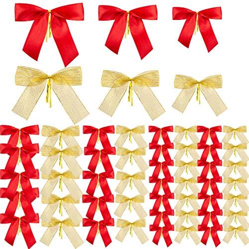 MELLIEX 50 Stück Ornamente Weihnachten Schleifen, Gold Rot Band Bogen Weihnachtsbaum, Weihnachtskranz, Geschenk Dekoration (3 Größen)