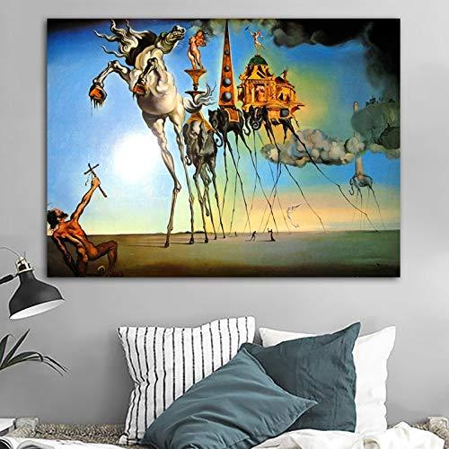 ZNuQP Salvador Dali Lienzo Pintura Arte Abstracto Caballo, Elefante clásico Pared Arte Cuadros para Sala de Estar decoración del hogar impresión-Sin marco15.7x19.7