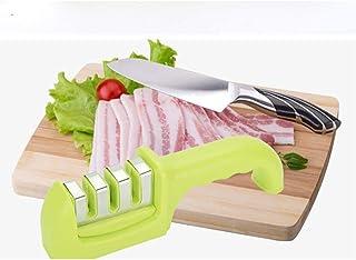 Afilador de cuchillos premium, afilador de cuchillos de cocina antideslizante de 3 etapas profesional ayuda a reparar, afilado manual de cuchillos con sistema de rueda con recubrimiento de diamante -