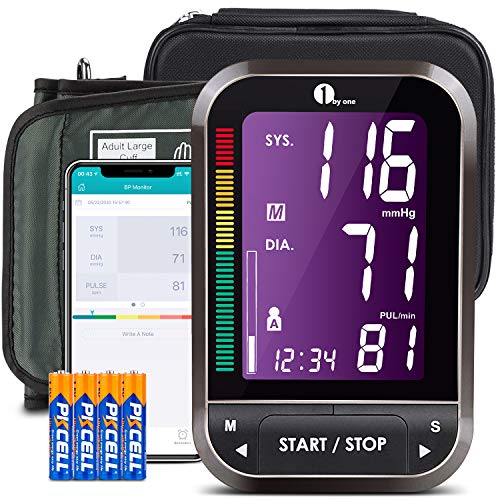 1byone Upper Arm Blood Pressure Monitor with Large Cuff, Bluetooth Automatic BP Machine Kit for Home, App Support, Carry Bag and 4 AAA Batteries Included (Black) Automatic