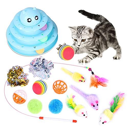 Giocattoli per Gatti, 14 Pezzi Gatto Giocattoli Interattivi con Pecute Giocattolo Gatto Traccia Antiscivolo e Removibile Gioco per Gattino Kitten Indoor