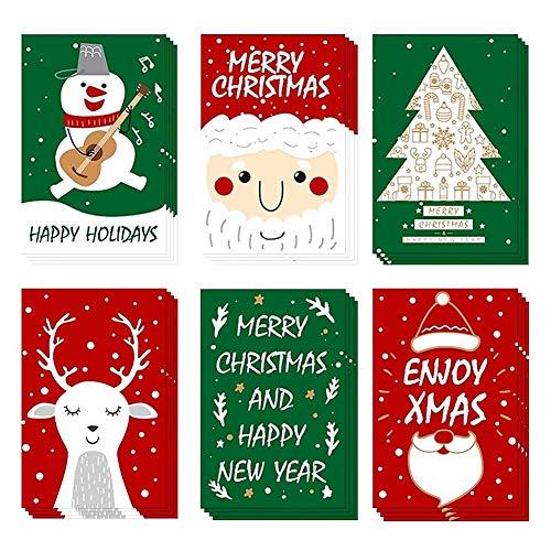 24 Pezzi,Biglietto Auguri Natale con Buste e Adesivi,Biglietti di Buon Natale Assortiti,Divertenti...