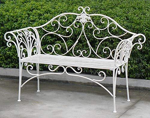 GlamHaus Metal Garden Bench Seat Patio Furniture Foldable Antique White Beautiful Shabby Chic Handmade Vintage (Metal Geneva)