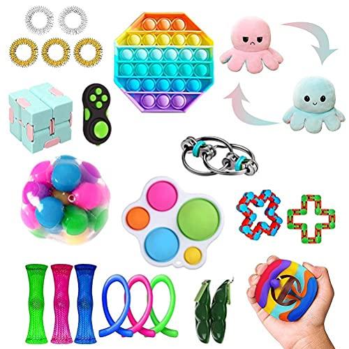 スクイーズ玩具 プッシュポップ ストレス解消グッズ Fidget Toy Bubble Sensory Toy Set 減圧おもちゃ バブル フィジェットおもちゃ インテリジェンス発展 知育おもちゃ そわそわおもちゃ 自閉症特別支援 ボードゲーム 子供 大人兼用 プレゼント (23個セット)