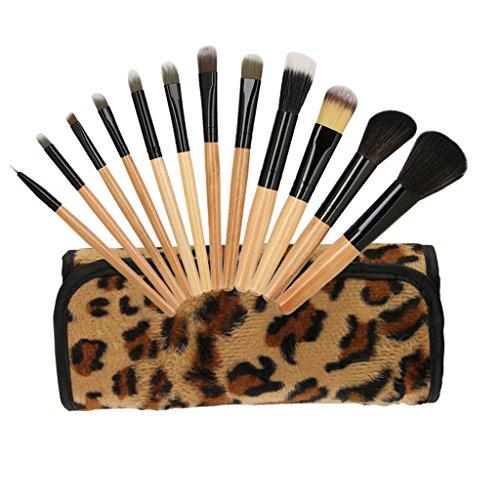 SM SunniMix Léopard 12pcs Kabuki Make Up Brush Set Fondation Blush Outils Fard À Paupières