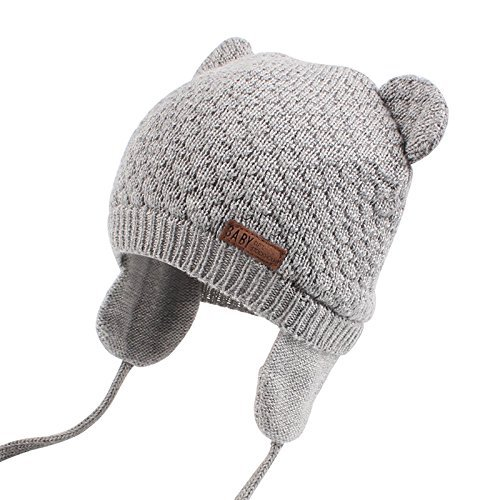 XIAOHAWANGベビーニット帽子 赤ちゃん 女の子 男の子 耳保護付き 綿 無地 柔らかい 暖かい かわいい 防風・防寒・保温 春 秋 冬(7-15ヶ月, グレー)