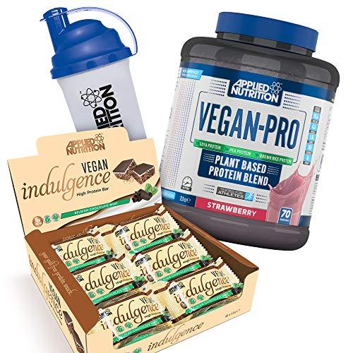 Applied Nutrition Bundle Vegan Pro Plant Based Protein Powder 2.1kg + Vegan Indulgence, High Protein Bar Snack, Box 12 x 50g + 700ml Shaker (Vegan Strawberry + Choc Mint Bars)