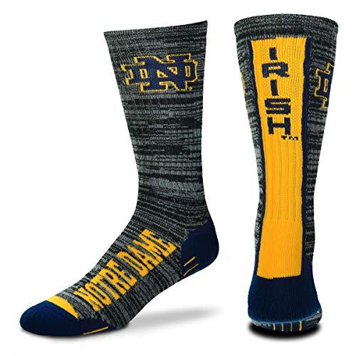 For Bare Feet NCAA Mens Team Vortex RMC Crew Socks-Medium & Large Sizes-Notre Dame Fighting Irish-Large (10-13)