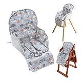 Amcho Coussin de chaise haute respirant avec sangle de sécurité confortable, motif mignon doux et confortable (motif animal gris)