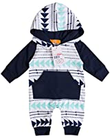 Emmababy Baby Boys Girls Jumpsuit Hoodie Romper Outfit Long Sleeve Creepers Bodysuit Clothes (0-6Months, White)