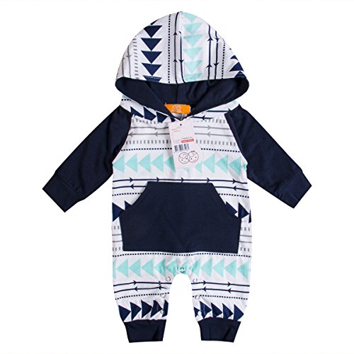Emmababy Baby Boys Girls Jumpsuit Hoodie Romper Outfit Long Sleeve Creepers Bodysuit Clothes (6-12Months, White)