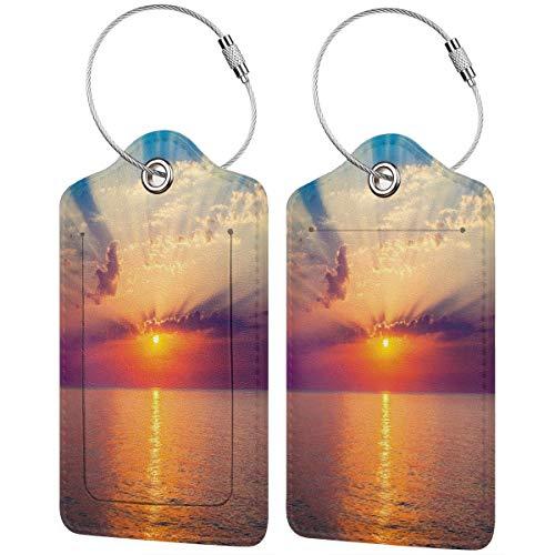 WINCAN Etiquetas para Equipaje,Ocean Dawn Sea Tranquil View Imprimir,2 Piezas Etiquetas de Equipaje de Viaje Etiquetas de Identificación de la Maleta para Maletas,Mochila