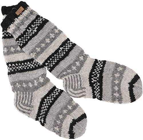 GURU SHOP Handgestrickte Schafwollsocken, Nepal Socken 44-46 - Grau/schwarz, Herren/Damen, Wolle, Size:One Size, Socken und Beinstulpen Alternative Bekleidung