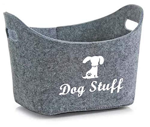 Geyecete Soft Felt Pet Toy Bin Dog Toys Storage Bins - with Handles, Pet Supplies Storage Basket/Bin Kids Toy Chest Storage Trunk (Grey)