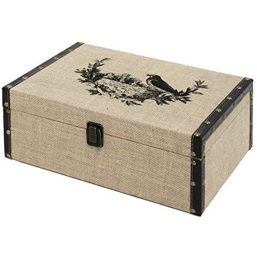 chemin_de_campagne Coffre Boîte de Rangement Bois Toile de Jute 34x24x13.50 cm