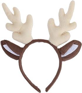VICASKY Tiara infantil de chifre de rena de Natal para crianças, festa à fantasia de Natal (branco leite, 40 x 30 cm)
