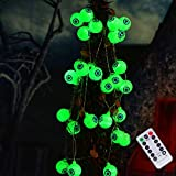 Halloween Cute Eyeball String Lights, 30LED Battery Operated Decorative Lights, Waterproof Twinkle Lights for Halloween, Party, Yard, Decorations (Green)