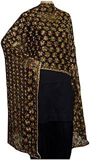 FEMEZONE Women's Crepe Phulkari Kanchan Handwork Dupatta (Black, Free Size)