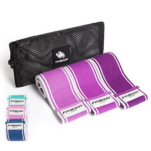 FitBeast Juego de bandas de resistencia de tela, bandas antideslizantes resistentes para piernas y glúteos, banda de ejercicio de 3 niveles de resistencia para mujeres y hombres, pilates, juego de 3