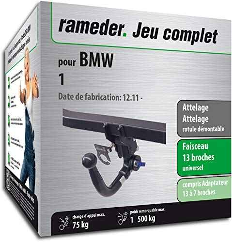 Rameder Pack, attelage rotule démontable + Faisceau 13 Broches Compatible avec BMW 1 (159782-11003-1-FR)