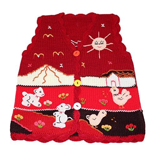 Sunny Times Sunny Times - Kinder Strick Weste aus Peru, handgefertigt aus Wolle, Größe 74 - 104, (74/80, Dunkelrot)