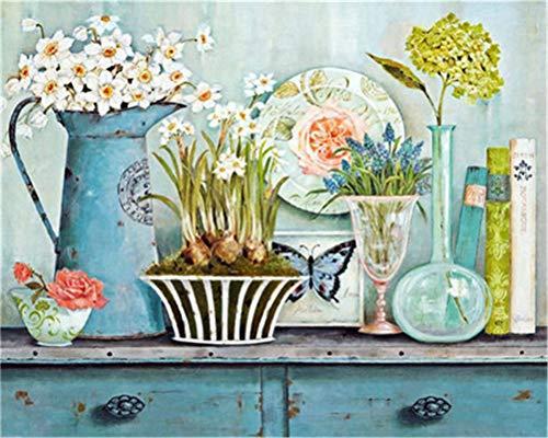 Kit de pintura por números para adultos y niños principiantes, 40,6 x 50,8 cm, flores y jarrón (sin marco)