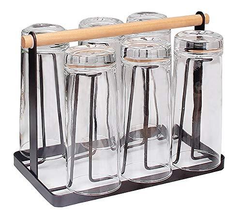 YunNasi Soportes para Tazas Portavasos de Café Portavasos al Revés 6 Piezas Colgador para Tazas Portavasos de Hierro (Negro, Style3)