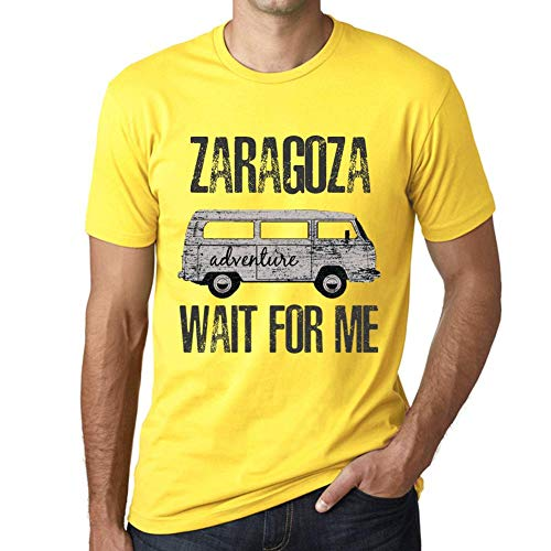 One in the City Hombre Camiseta Vintage T-Shirt Gráfico Zaragoza Wait For Me Amarillo