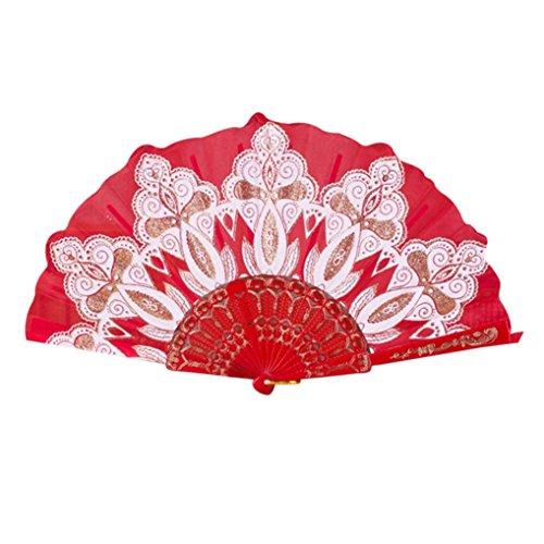 OverDose Chino / estilo español bailarina de danza de encaje de seda plegable de mano flor fan (Rojo)