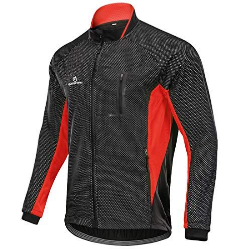 Queshark Herren Winddichte wasserdichte Lauf- Fahrradjacke MTB Mountainbike Radjacke Visible reflektierend, Fleece Warm Jacket für Herbst Winter (3XL, Schwarz Rot)