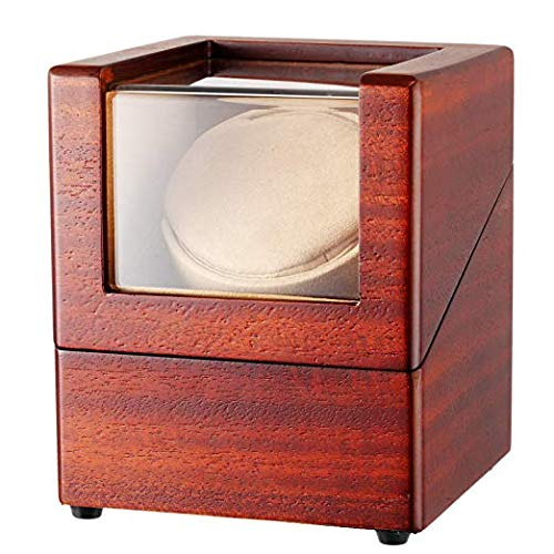 CHIYODA Automatic Single Watch Winder with Quiet Mabuchi Motor and 12 Rotation Modes (Wood Veneer)