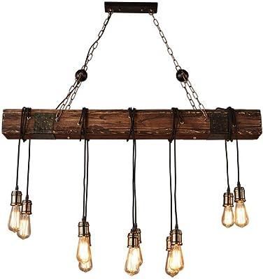 Lámpara de techo Lámpara colgante de madera industrial retro ...