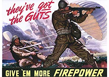 UpCrafts Studio Design American Propaganda Poster - Size 11.7 x 16.5 - GIVE  EM More Firepower- WW2 Military Art Prints Reproduction - WW2 American Military Wall Art Decorations