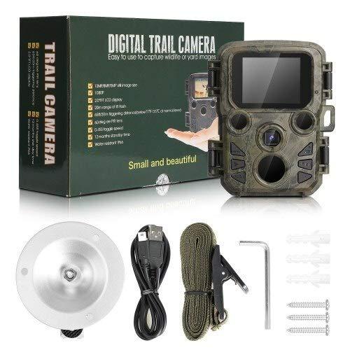 KUangQIANWEI wildcamera met bewegingsmelder nachtzicht fotografie-onderzoeks-warmtebeeldcamera voor de jacht Reconnaissance minicamera 12 MP 1080p nachtzicht-kat-jachtcamera met LCD-case