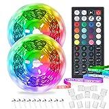Boxlood LED RGB Streifen 12M 12V, 5050 SMD dimmbar mit 40 Tasten IR Fernbedienung, Kann Geschnitten Werden, Passend für Hause, Partys, Küche, Wohnzimmer, Schrank Schlafzimmer, 2 Rollen von 6M
