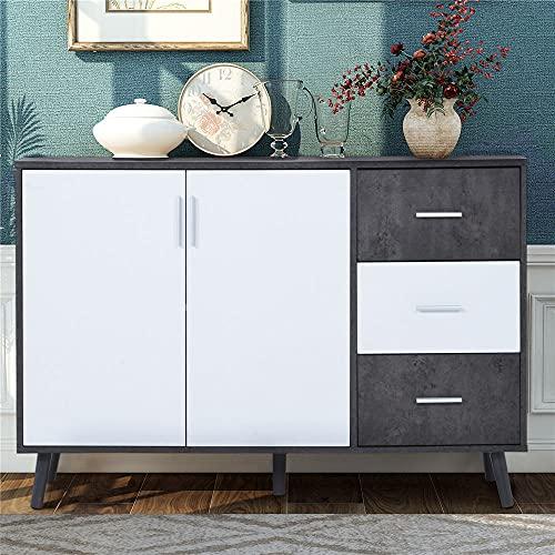 Kommode Sideboard Schrank Mehrzweckschrank Standschrank,Weiß+Grau