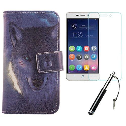 Lankashi Wolf 3in1 Set PU Flip Leder Tasche Für ZTE Blade A452 5