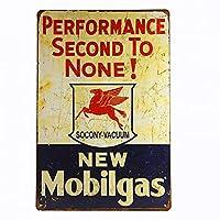 誰にも負けない「モービルガス」パフォーマンス!ヴィンテージ、ブリキの看板、男の洞窟、ホットロッド15x30cm