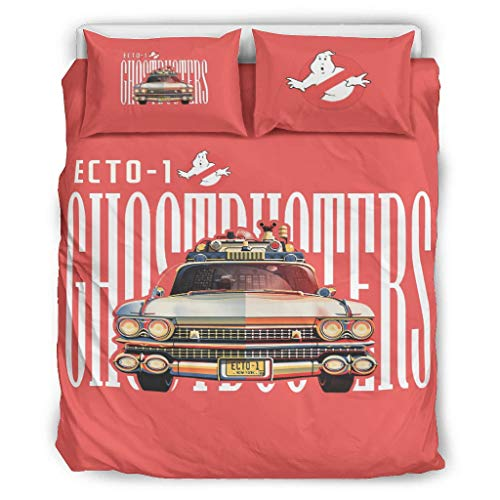 Cool Ghostbusters Ecto Bed Linen Microfibre 3-Piece Duvet Cover Set with Pattern, Soft Warm Winter Plush Duvet Covers with Zip and 2 Pillowcases for Home King White 168 x 229 cm