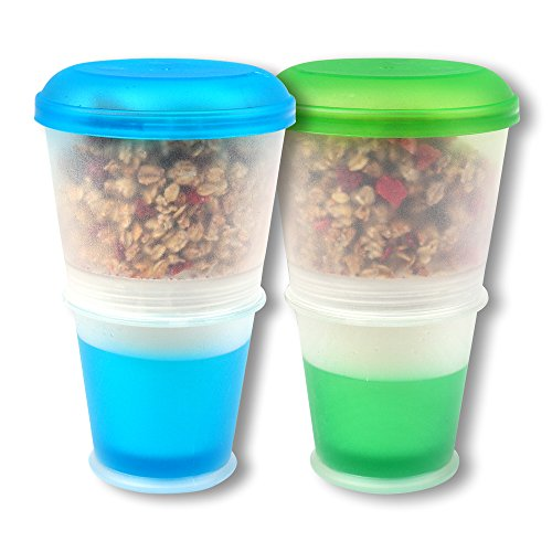 Schramm® 2-pack yoghurtbeker voor Muesli-to-Go Muesli-beker met geïntegreerd koelvak en lepel Graanbakje Yoghurtbakje Yoghurtbakje voor onderweg