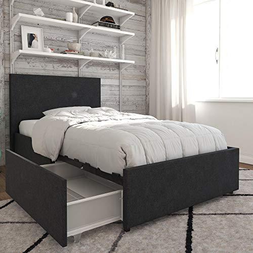 Novogratz Kelly Bed with Storage, Twin, Dark Gray Linen