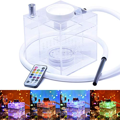 BuBu-Fu Shisha Set Micro Modern Acryl Würfel Shisha LED Shisha Schlauch Shisha Komplett Set Glas Shisha Set Mit Led Licht Fernbedienung