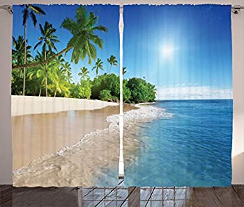 Ambesonne Blue Curtains Ocean Tropical Palm Trees on Sunny Island Beach Scene Panoramic View Picture Living Room Bedroom Window Drapes 2 Panel Set 108  X 84  Blue Green White