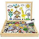 Jojoin 110Pcs Puzzles en Bois Magnétique, Animaux Jigsaw avec Thème de Vacances & Double Face Tableau Noir de Chevalet, Jouets Educatif pour Enfants Âge 3+