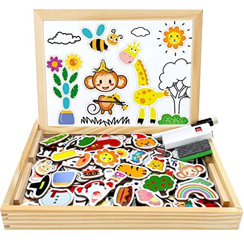 Jojoin Magnetisches Holzpuzzle mit Doppelseitiger Tafel, 110 Stück Pädagogisches Magnetische Holzspielzeug Staffelei Doodle, Kreativ Lernspielzeug für Kinder 3 Jahre (Tiermuster und Urlaubsthema)