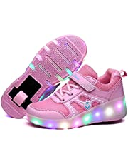Kinderen Led Roller Shoes Single Wheels Intrekbaar met Wielen LED Light up Shoes Buitensport Gymnastiek Sneakers Unisex (Color : Pink, Size : 35EU)