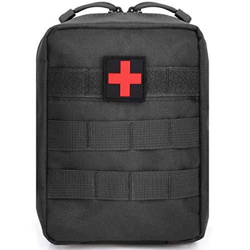 EMT Pouch-Tactical Molle First Aid Pouch Empty, Small Military Medical Bag Compact IFAK Kit Pouches (Black)