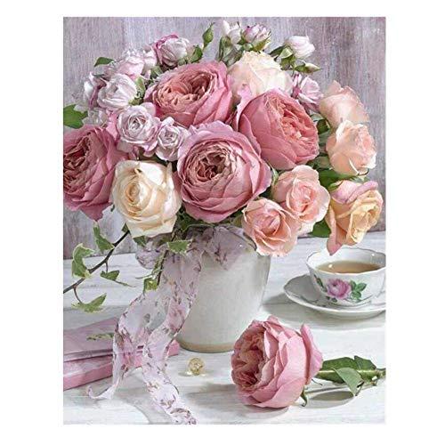 5D-Diamant-Malerei-Set, Morgensonne, vollständiger Bohrer, Diamant-Stickerei, Gemälde zum Selbermachen, Kreuzstich-Gemälde, Wanddekoration rose