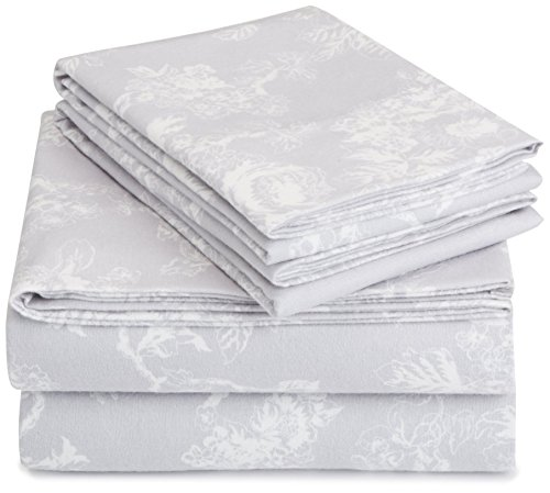Pinzon Cotton Flannel Bed Sheet Set - King, Floral Grey